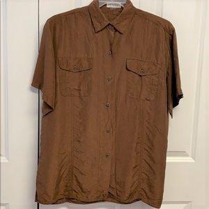 Express Silk Blouse Size XL Brown